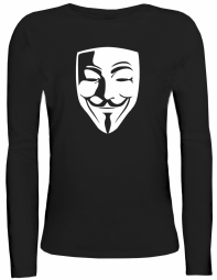 Shirtstreet24 Lady / Girlie Longsleeve Langarm T-Shirt ANONYMOUS MASKE