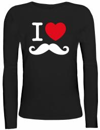 Shirtstreet24 Lady / Girlie Longsleeve Langarm T-Shirt I LOVE SCHNURRBART