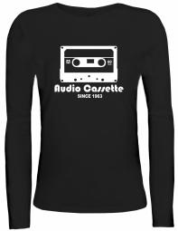 Shirtstreet24 Lady / Girlie Longsleeve Langarm T-Shirt AUDIO CASSETTE